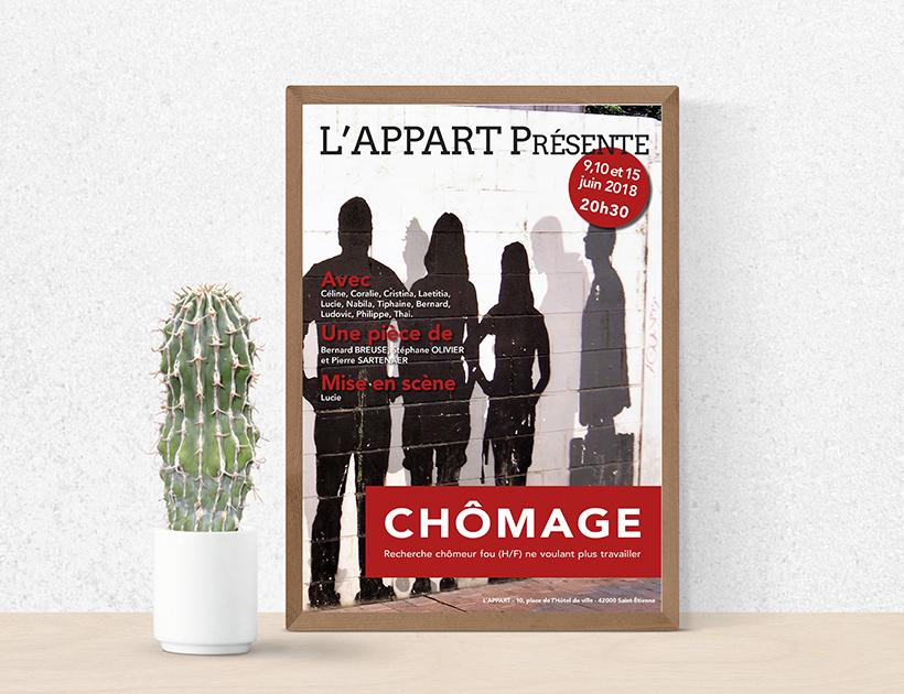 Affiche théâtre l'Appart, Chômage - St-Etienne